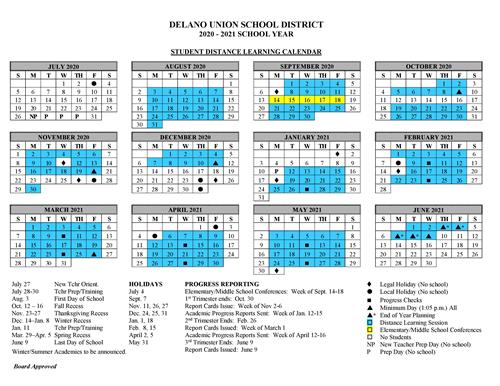 DUESD updated distance learning calendar